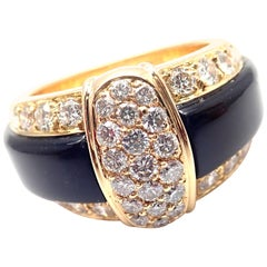 Van Cleef & Arpels 18 Karat Yellow Gold Diamond Black Onyx Band Ring