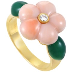 Van Cleef & Arpels 18 Karat Yellow Gold Diamond Coral & Chrysoprase Flower Ring