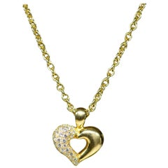 Van Cleef & Arpels 18 Karat Yellow Gold Diamond Heart Pendant Necklace