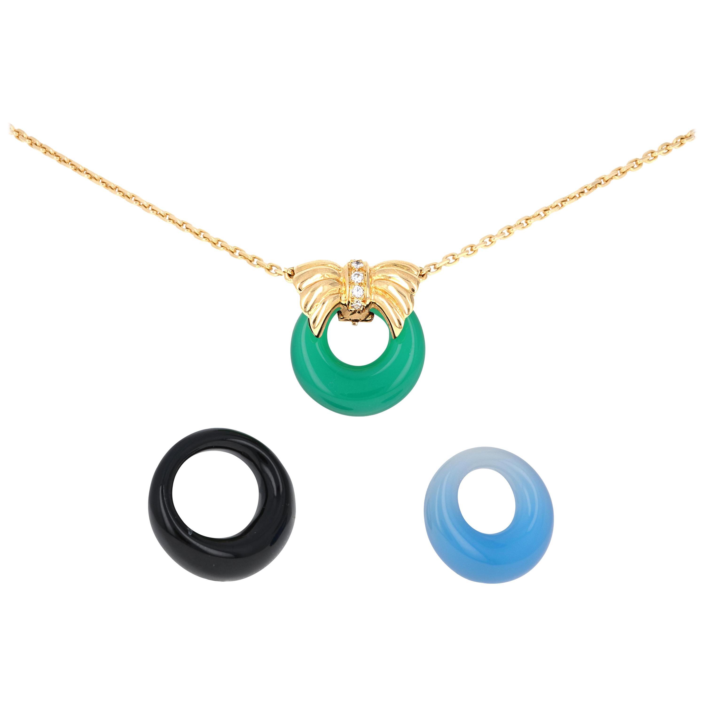 Van Cleef & Arpels 18 Karat Yellow Gold Diamond Interchangable Pendant Necklace