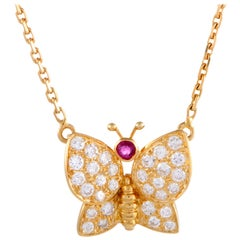 Van Cleef & Arpels 18 Karat Yellow Gold Diamond Pave and Ruby Pendant Necklace