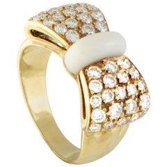 Van Cleef & Arpels 18 Karat Yellow Gold Diamond Pave and White Agate Bow Ring