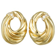 Van Cleef & Arpels 18 Karat Yellow Gold Diamond Pave Clip-On Earrings
