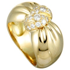 Van Cleef & Arpels 18 Karat Yellow Gold Diamond Pavé Knot Ring