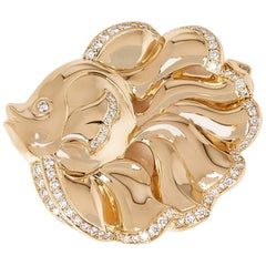 Van Cleef & Arpels 18 Karat Yellow Gold Diamond Vintage Fish Brooch