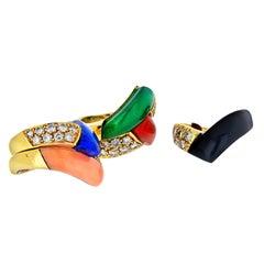 Van Cleef & Arpels 18 Karat Yellow Gold Diamonds Multi-Color Gem Stack Ring