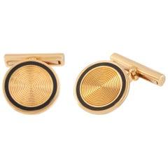Van Cleef & Arpels 18 Karat Yellow Gold Enameled Men's Cufflinks