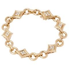 Van Cleef & Arpels 18 Karat Yellow Gold Fancy Link Diamond Bracelet