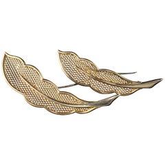 Van Cleef & Arpels 18 Karat Yellow Gold Feather Pin Set