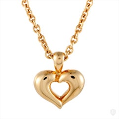 Van Cleef & Arpels 18 Karat Yellow Gold Heart Pendant Necklace