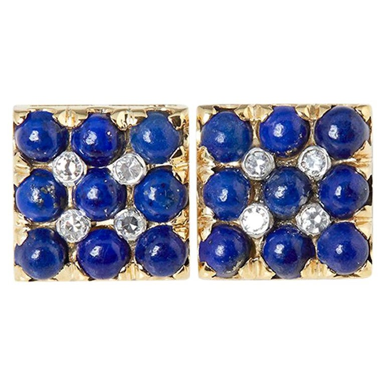 Van Cleef & Arpels 18 Karat Yellow Gold Lapis Lazuli and Diamond Cufflinks For Sale
