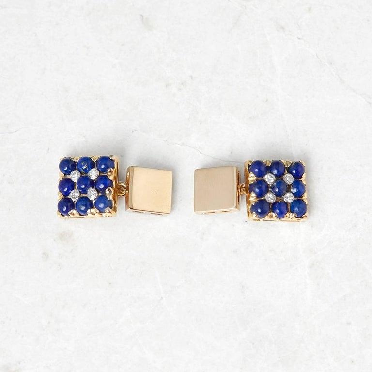 Van Cleef & Arpels 18 Karat Yellow Gold Lapis Lazuli and Diamond Cufflinks In Excellent Condition For Sale In Bishop's Stortford, Hertfordshire
