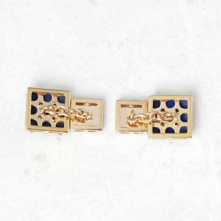 Men's Van Cleef & Arpels 18 Karat Yellow Gold Lapis Lazuli and Diamond Cufflinks For Sale