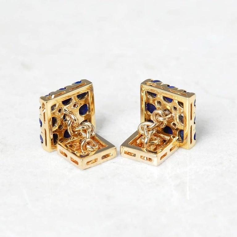 Van Cleef & Arpels 18 Karat Yellow Gold Lapis Lazuli and Diamond Cufflinks For Sale 1
