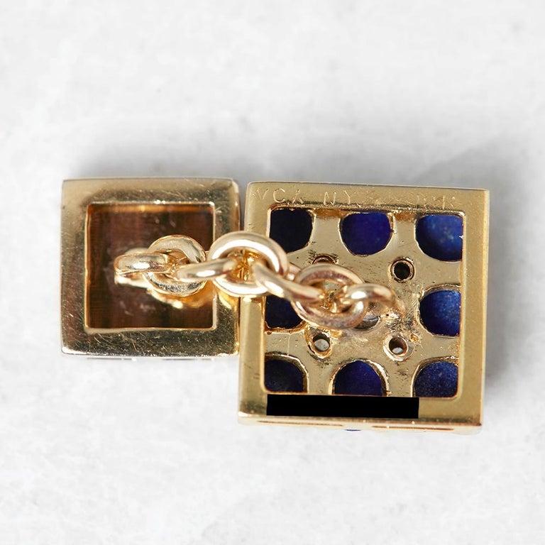 Van Cleef & Arpels 18 Karat Yellow Gold Lapis Lazuli and Diamond Cufflinks For Sale 2
