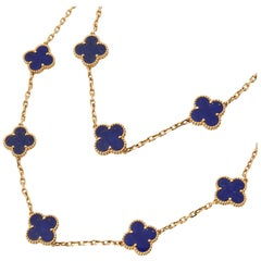 Van Cleef & Arpels 18 Karat Yellow Gold Lapis Lazuli Vintage Alhambra Necklace