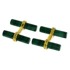 Van Cleef & Arpels 18 Karat Yellow Gold Malachite Cufflinks