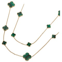 Van Cleef & Arpels 18 Karat Yellow Gold Malachite Magic Alhambra Necklace