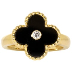 Van Cleef & Arpels 18 Karat Yellow Gold Onyx and Diamond Vintage Alhambra Ring