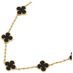 Van Cleef & Arpels 18 Karat Yellow Gold Onyx Vintage Alhambra Long Necklace
