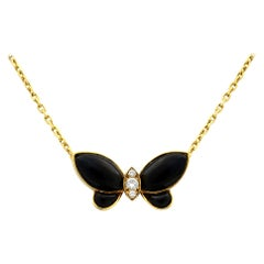Van Cleef & Arpels 18 Karat Yellow Gold Papillon Onyx and Diamonds Necklace