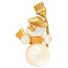 Van Cleef & Arpels 18 Karat Yellow Gold Pearl Snowman Brooch