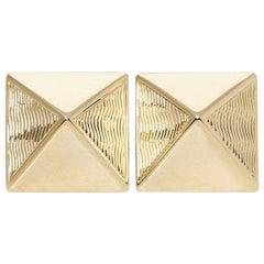 Van Cleef & Arpels 14 Karat Yellow Gold Pyramid Design Stud Earrings