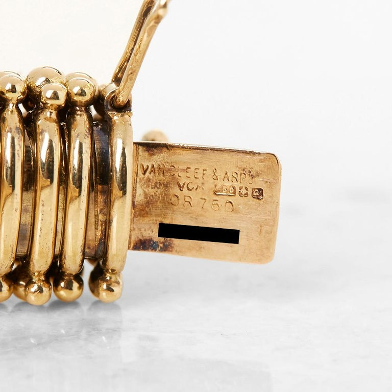 Van Cleef & Arpels 18 Karat Yellow Gold Ruby & Diamond Vintage Bracelet  For Sale 2