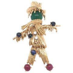 Van Cleef & Arpels 18 Karat Yellow Gold Scarecrow Brooch