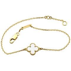 Van Cleef & Arpels 18 Karat Yellow Gold Sweet Alhambra Mother of Pearl Bracelet