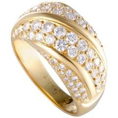 Van Cleef & Arpels 18 Karat Yellow Gold Two-Row Diagonal Diamond Pave Band Ring