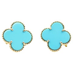 Van Cleef & Arpels 18 Karat Yellow Gold Magic  Alhambra Turquoise Earrings