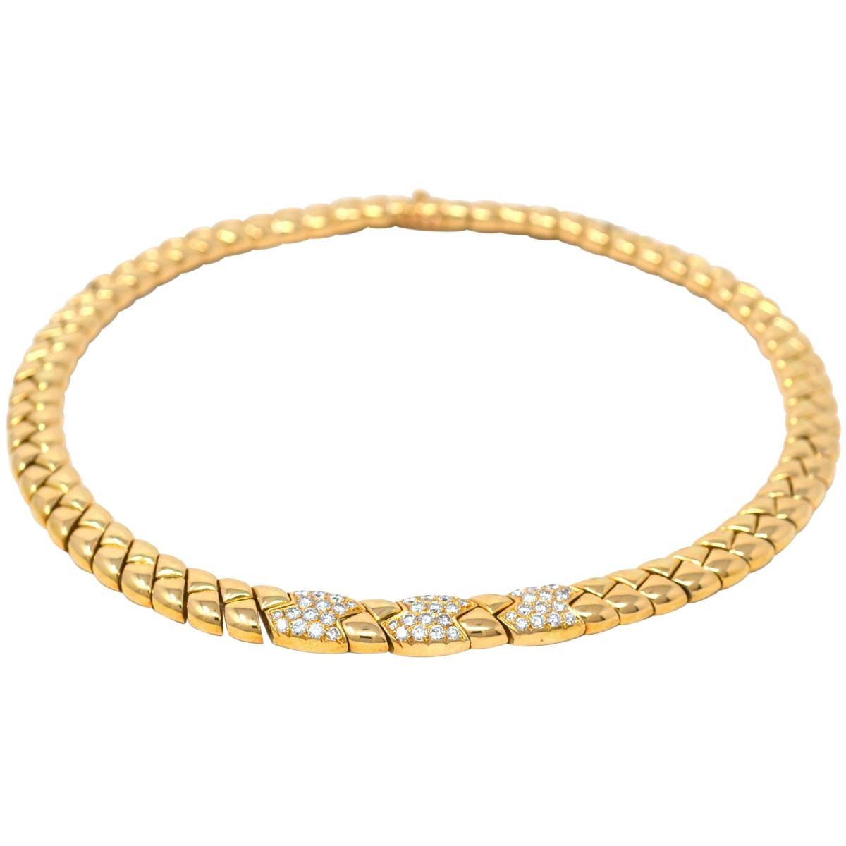 Van Cleef & Arpels 18 Karat Yellow Gold Vintage Diamond Choker Necklace