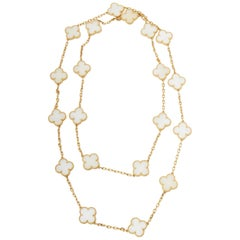Van Cleef & Arpels 18 Karat Yellow Gold White Coral Vintage Alhambra Necklace