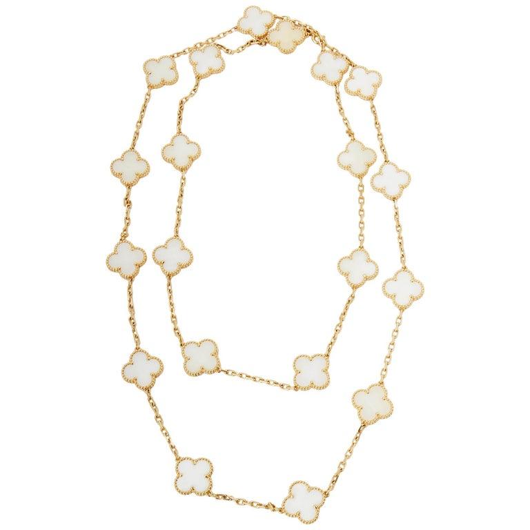 Van Cleef & Arpels 18 Karat Yellow Gold White Coral Vintage Alhambra Necklace For Sale