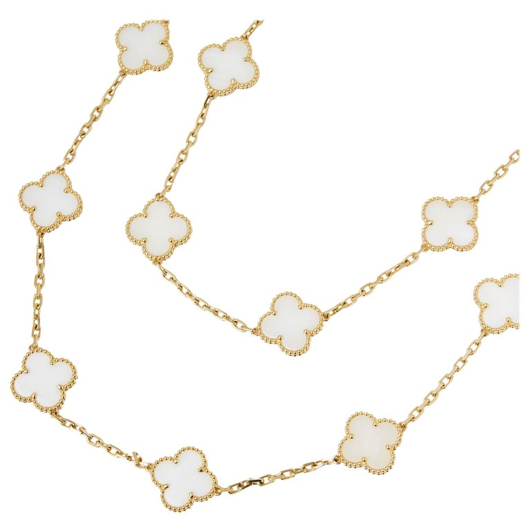 This Necklace by Van Cleef & Arpels is from their Vintage Alhambra collection and features 20 White Coral motifs, made in 18k Yellow Gold. The Necklace has a secure springring clasp. Complete with Van Cleef & Arpels Certificate dated 28/06/2016 &