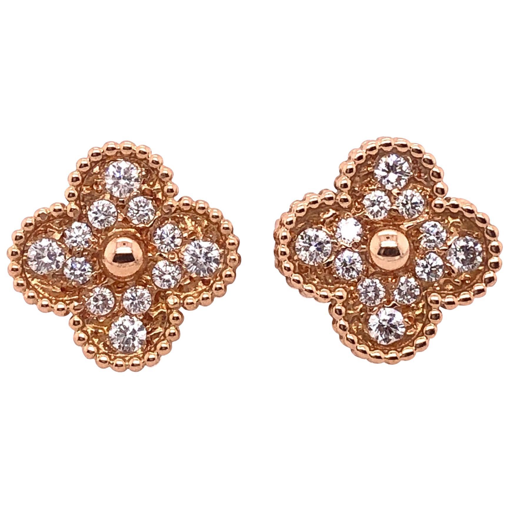 Van Cleef & Arpels 18 Karat Yellow Rose Gold Alhambra Diamond Earrings