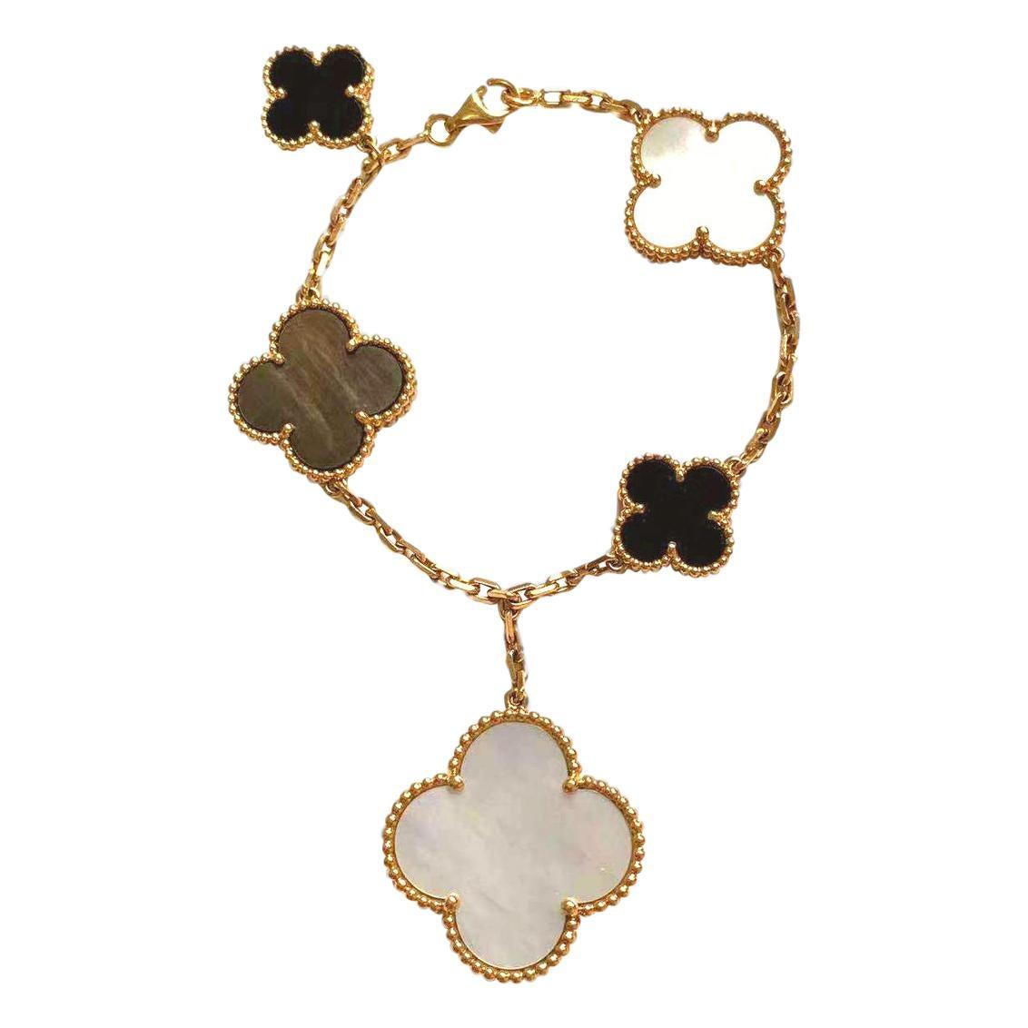 Van Cleef & Arpels 18k 5 Motif Onyx Mother of Pearl Magic Alhambra Bracelet