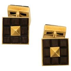 Van Cleef & Arpels 18k Gold and Wood Plaque Cufflinks