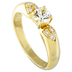 Van Cleef & Arpels 18K Gold Diamond Pave and Diamond Solitaire Engagement Ring