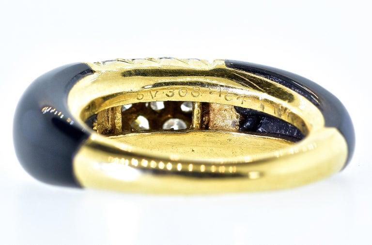 Contemporary Van Cleef & Arpels 18 Karat Gold, Onyx and Diamond Ring