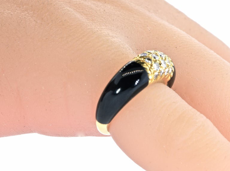 Van Cleef & Arpels 18 Karat Gold, Onyx and Diamond Ring 1