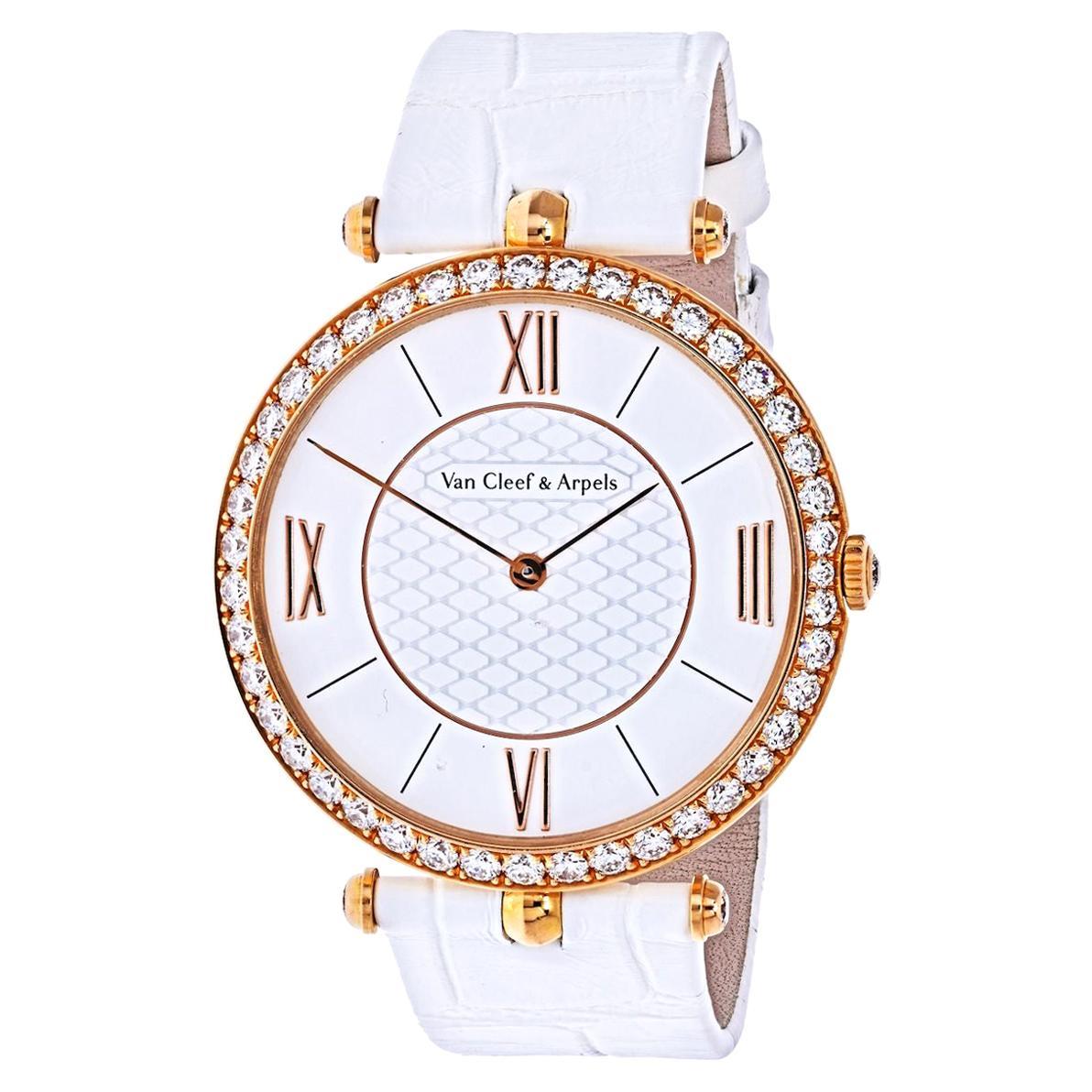 Van Cleef & Arpels 18K Rose Gold VCAR03GL00 Diamond Bezel Watch