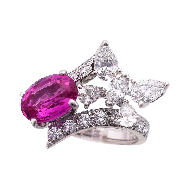 Van Cleef & Arpels 18k WG Myanmar Unheated Pink Sapphire Diamond Elysees Ring