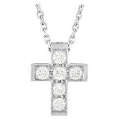 Van Cleef & Arpels 18k White Gold 0.24 Ct Diamond Cross Pendant Necklace