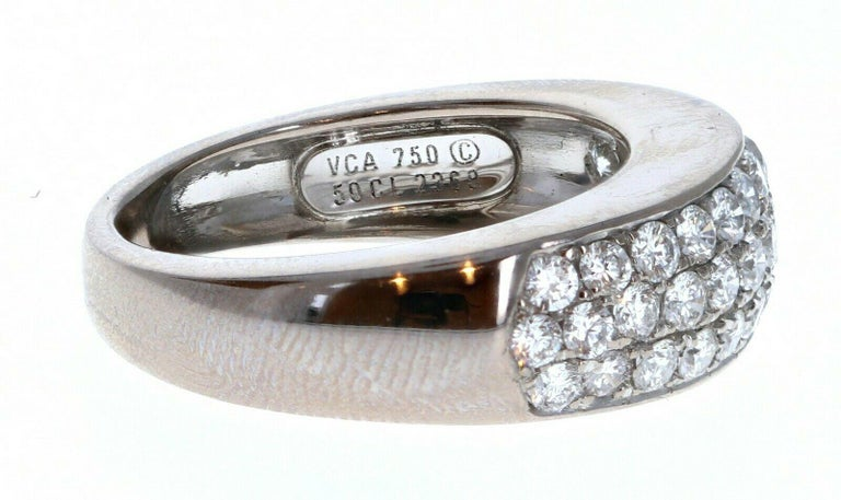 Van Cleef & Arpels 18k White Gold & Diamond Evolution Band 1.00 ctw In Good Condition For Sale In Beverly Hills, CA