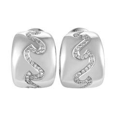 Van Cleef & Arpels 18k White Gold Diamond Wave Huggie Earrings 0.90cttw