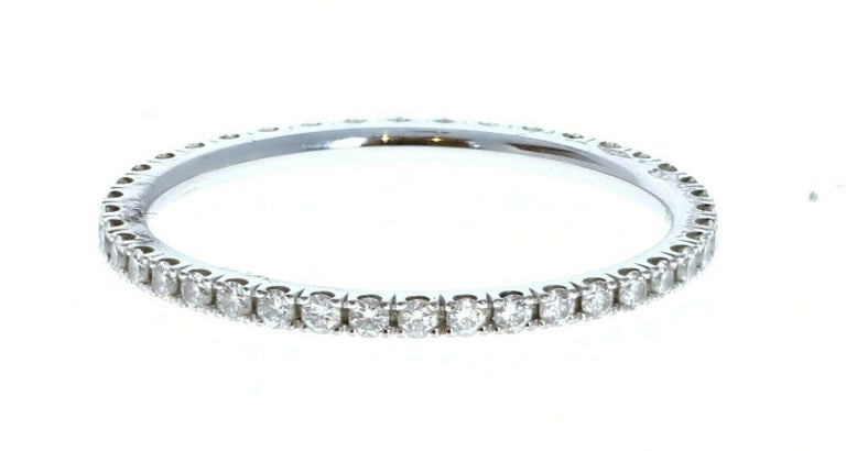 Round Cut Van Cleef & Arpels 18k White Gold Félicité Eternity Diamond Band Box For Sale