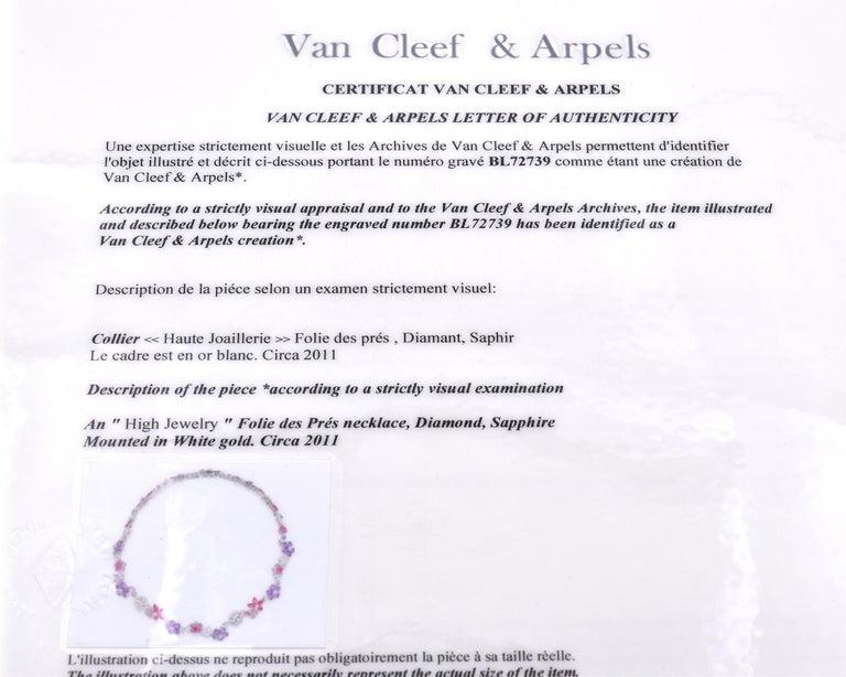 Van Cleef & Arpels 18 Karat White Gold Folie des Pres Necklace For Sale 1