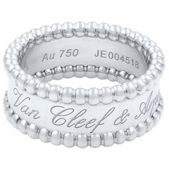 Van Cleef & Arpels 18 Karat White Gold Perlee Ring